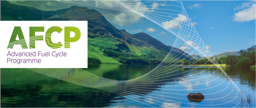 A photograph of a lake and mountains in Cumbria. Over the photo is a white dynamic wave pattern overlaid with the logo for the Advanced Fuel Cycle Programme (AFCP).